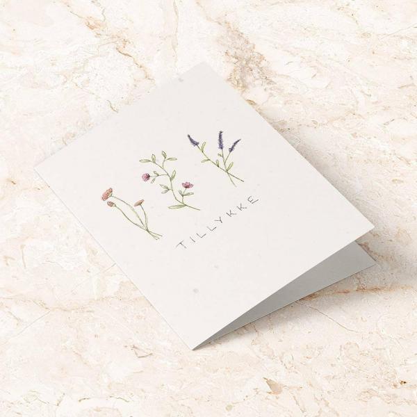 plantbart kort blomster tillykke